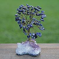 Sodalite gemstone tree, 'Mystical Tree' - Blue Sodalite and Amethyst Gemstone Tree from Brazil