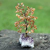 Agate gemstone tree, 'Falling Leaves' - Brown Agate and Amethyst Gemstone Tree from Brazil