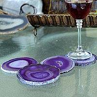 Agate coasters, 'Lilac Water Drops' (set of 4) - Purple Blue Agate Coasters (Set of 4) from Brazil