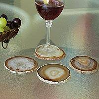 Agate coasters, 'Stone Tree Trunks' (set of 4) - Natural Brown White Agate Coasters (Set of 4) from Brazil