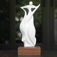 Sculpture, 'Triumph in White' - Abstract Woman Celebrates Triumphs in White Resin Sculpture