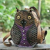 Leather backpack, 'Owl' (Brazil)