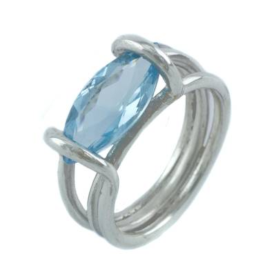 Sterling Silver and Blue Topaz Cocktail Ring from Brazil