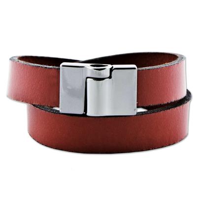 Leather Crimson Wrap Bracelet Steel Clasp from Brazil