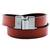 Leather wrap bracelet, 'Chic Crimson' - Leather Crimson Wrap Bracelet Steel Clasp from Brazil (image 2a) thumbail