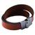 Leather wrap bracelet, 'Chic Crimson' - Leather Crimson Wrap Bracelet Steel Clasp from Brazil (image 2e) thumbail