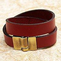 Leather wrap bracelet, 'Trendy Crimson' - Leather Wrap Criss Cross Bracelet Clasp from Brazil