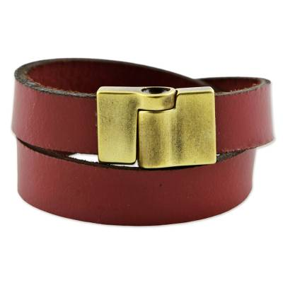 Leather Wrap Criss Cross Bracelet Clasp from Brazil