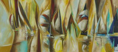 'Boats in the Wind' - Original Cubist Brazilian Seascape 71 Inches Wide