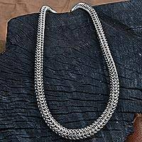 Stainless steel chain necklace, 'Steel Snake' - Stainless Steel Chain Link Necklace from Brazil