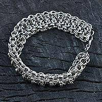 Stainless steel chain bracelet, 'Steel Rings' - Stainless Steel Chain Link Bracelet from Brazil