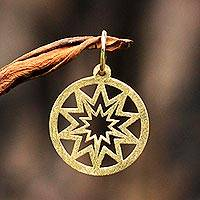 Gold pendant, 'The Magnificent Sun' - 18k Gold Pendant of the Sun Circular from Brazil