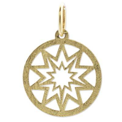 18k Gold Pendant of the Sun Circular from Brazil