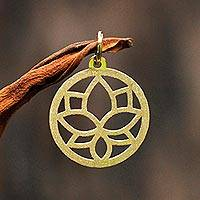 Gold pendant, 'Lotus Flower' - 18k Gold Pendant Lotus Flower Circular from Brazil