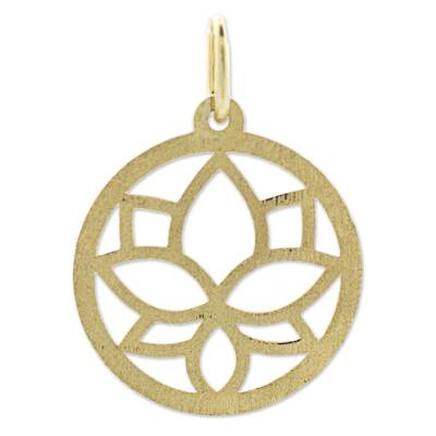 18k Gold Pendant Lotus Flower Circular from Brazil