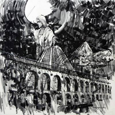 'Rio in Black and White' (2015) - Original Black & White Painting of Rio de Janeiro Icons