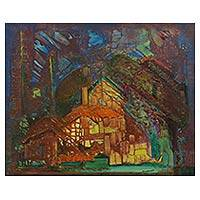 'House of Chocolate' (1995) - Original Signed Painting of a House in the Brazilian Forest