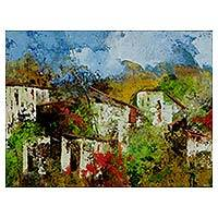 'Houses III' - Brazilian Landscape Signed Painting with White Houses