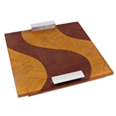 Mahogany Wood Tray Aluminum Handles from Brazil