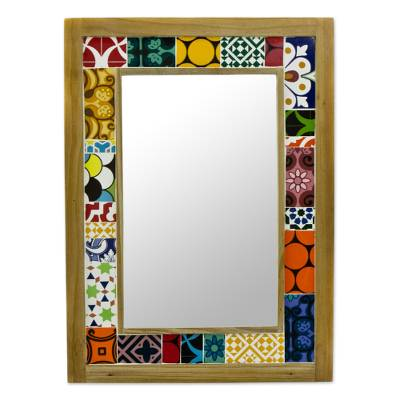 Brazil Wall Mirror and Frame with Multicolored Ceramic Tiles