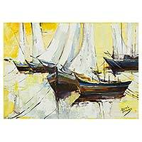 'Sailboats II' - Signed Brazil Painting of White Sailboats and Yellow Skies