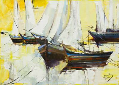 Signed Brazil Painting of White Sailboats and Yellow Skies