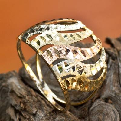 Tri-color gold cocktail ring, 'Copacabana Waves' - Rose White and Yellow 10k Gold Waves on Brazilian Band Ring
