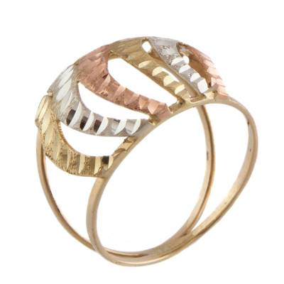 Rose White and Yellow 10k Gold Waves on Brazilian Band Ring