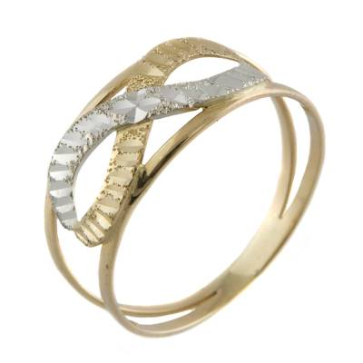 White and Yellow 10k Gold Infinity Symbol Band Ring
