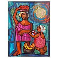 'Baianas' - Signed Painting of Bahia Mother and Child Selling Fruits