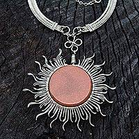 Goldstone statement necklace, 'Rays of the Sun' - Stainless Steel Goldstone Statement Necklace from Brazil