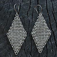 Stainless steel dangle earrings, 'Linked Rhombi' (Brazil)