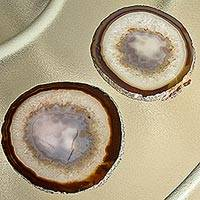 Agate trays, 'Ringed Crystals' (pair) - Natural Color Brown Agate Canape Trays from Brazil (Pair)