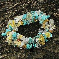 Multi-gemstone beaded stretch bracelets, 'Ocean Trio' (set of 3) - Multigem Beaded Bracelets (Set of 3) Citrine from Brazil