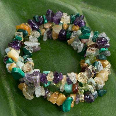 Multi-gemstone beaded stretch bracelets, 'Flowery Trio' (set of 3) - Multigem Stretch Beaded Bracelets (Set of 3) from Brazil
