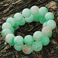 Jade beaded stretch bracelets, 'Green Meditation' (pair) - Green Jade Beaded Bracelets (Pair) from Brazil
