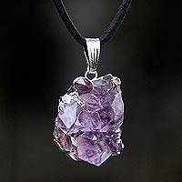 Agate long pendant necklace, 'Purple Light Rays' - Silver Plated Amethyst Pendant Necklace from Brazil