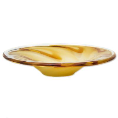 Art glass centerpiece, 'Yellow Spiral' - Hand Blown Yellow Decorative Glass Centerpiece from Brazil