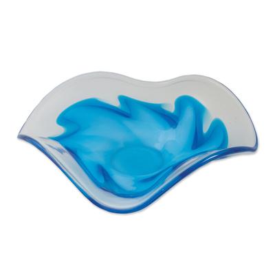 Hand Blown Blue Glass Decorative Centerpiece from Brazil