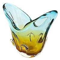 Art glass vase, 'V Wave' - Hand Blown Yellow Blue Art Glass Vase from Brazil