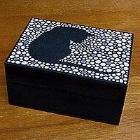 Wood decorative box, 'Quiet Cat' - Wood Decorative Box from Brazil Hand Painted with Cat Motif