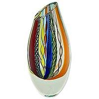 Handblown art glass vase, 'Carnival Color Fantasy' - Collectible Handblown Murano Inspired Art Vase