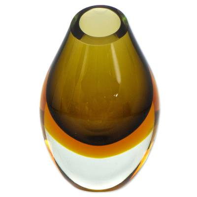 Art glass vase, 'Olive' - Murano Inspired Earthtone Brazilian Blown Art Glass Vase