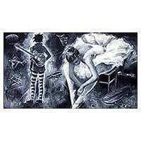 'More Rock Ballet' (2012) - Modern Dance and Music Theme Painting in Monochrome