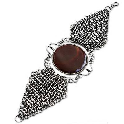 Agate and Stainless Steel Wristband Bracelet from Brazil