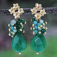 Gold plated jade dangle earrings, 'Golden Flower Drops' - Gold Plated Jade Amazonite Peridot Dangle Earrings Brazil
