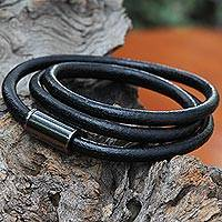 Leather wrap bracelet, 'Three Turns in Black' - Black Leather Magnetic Wrap Bracelet from Brazil