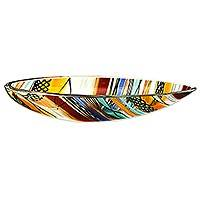 Art glass centerpiece, 'Rainbow Eclipse' - Artisan Crafted Handblown Colorful Art Glass Centerpiece