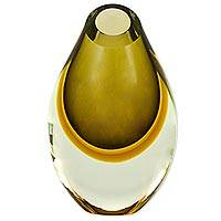 Art glass vase, 'Earthy Beauty' - Murano Inspired Earthtone Hand Blown Glass Vase from Brazil