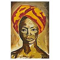 'Woman with a Turban' - Original Signed Portrait Painting of a Brazilian Woman